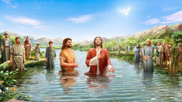 耶穌受洗 當下、耶穌從加利利來到約旦河、見了約翰、要受他的洗。約翰想要攔住他、說、我當受你的洗、你反倒上我這裡來嗎。耶穌回答說、你暫且許我.因為我們理當這樣盡諸般的義.於是約翰許了他。耶穌受了洗、隨即從水裡上來.天忽然為他開了、他就看見神的靈、彷彿鴿子降下、落在他身上。從天上有聲音說、這是我的愛子、我所喜悅的。